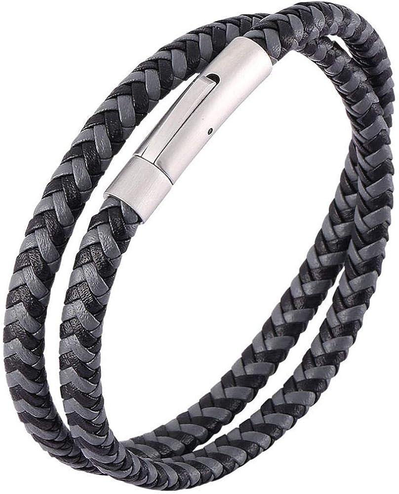 Bracelet Men Women Fashion Jewelry Leather Braided Rope Multi Layer Bangle Gift