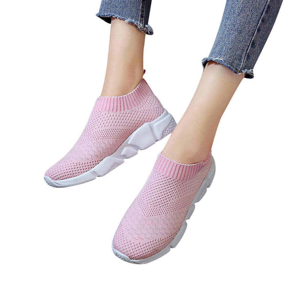 Women's Fashion Sneakers Breathable Mesh Casual Sport Shoes Comfortable Walking Shoes (Pink, US:6.0)