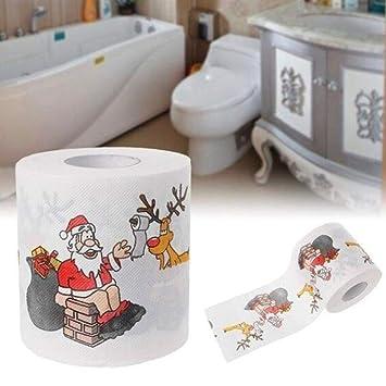 Mallalah Navidad Papel higiénico WC Rollo de Papel de Regalo Clean toallitas Papá Noel Santa Claus Elk: Amazon.es: Hogar