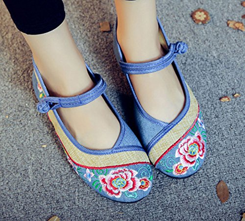 AvaCostume Womens Floral Embroidery Soft Bottom Linen Patchwork Walking Shoes Blue vQT02sa