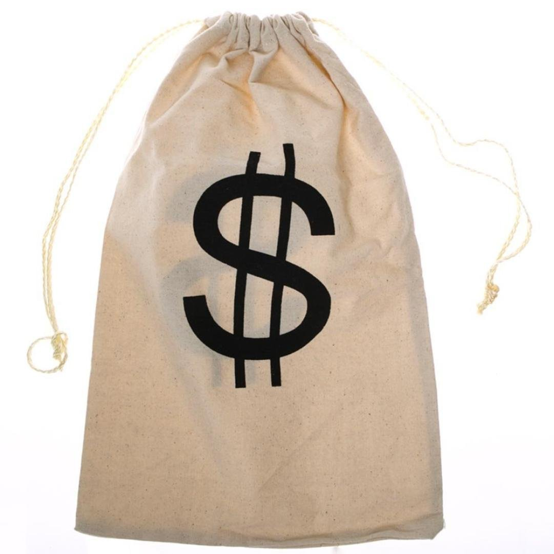 Cinhent Bag 1PC Large Canvas Money Storage Bag with Drawstring Closure and Dollar Sign Design Small Jewelry Storage Pouch