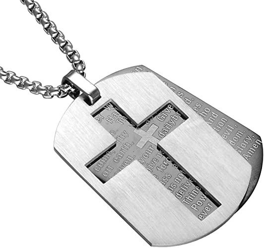 Men/'s Stainless Steel Pendant Necklace Cross Bible Lords Prayer Silver Beauty
