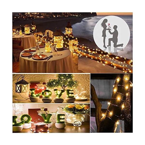 Vindany 2 Pezzi Stringa Luci LED - 33FT Catene Luminose Luci Natalizie USB e Batteria Impermeabile IP65 Fata Luci Decorative da Giardino Filo di Rame Luci Interne per Natale Festa 7 spesavip