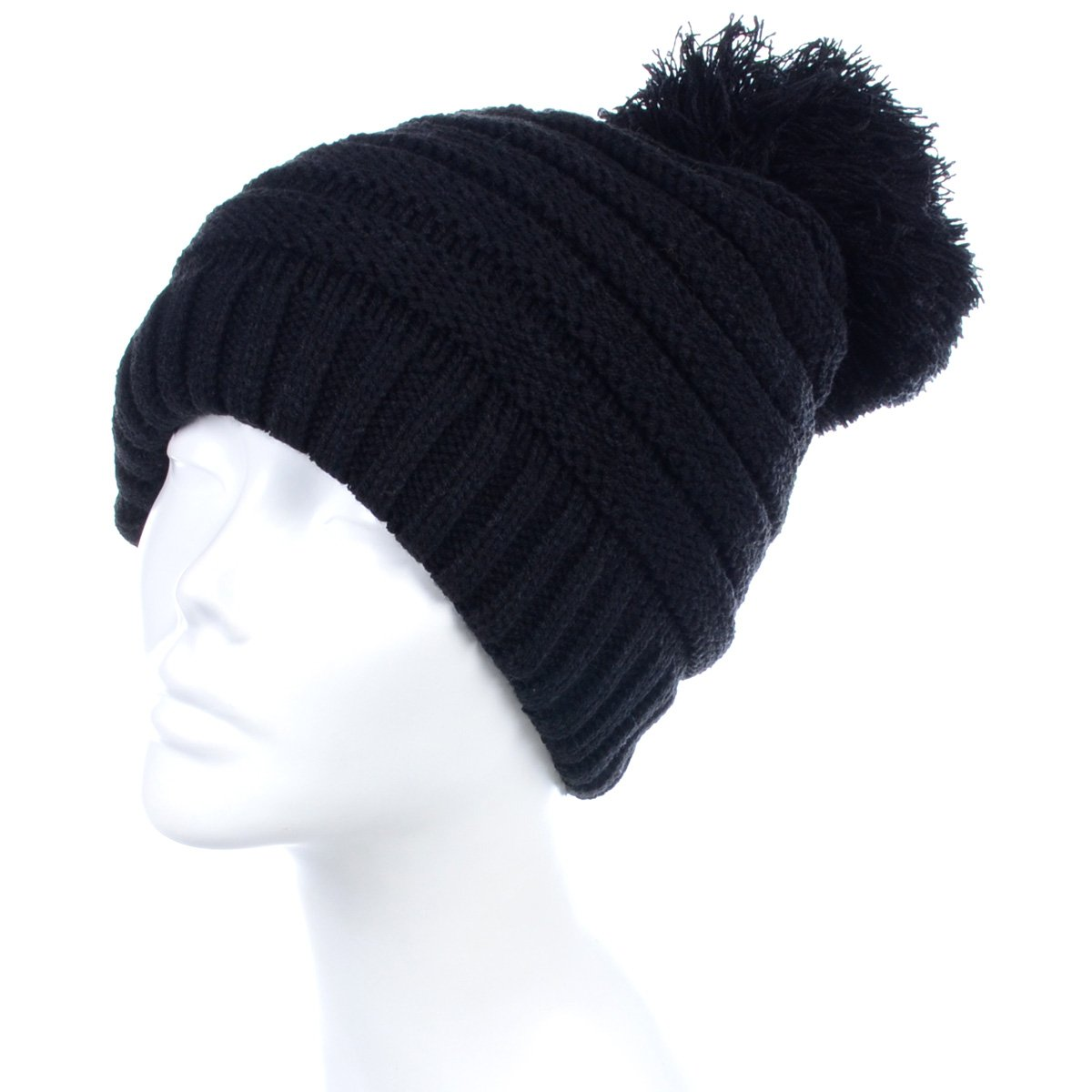 BYOS Winter Soft Warm Fleece Lined Chunky Ribbed Knit Pom Pom Beanie Hat, Thick for Cold Winter (Stripe-Black)
