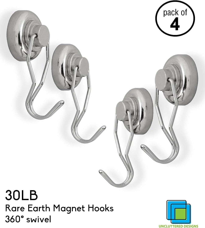 32mm stark Neodym Magnet Haken Drehbar und Schwenkbar Wukong 6 St/ück Super Stark Magnethaken