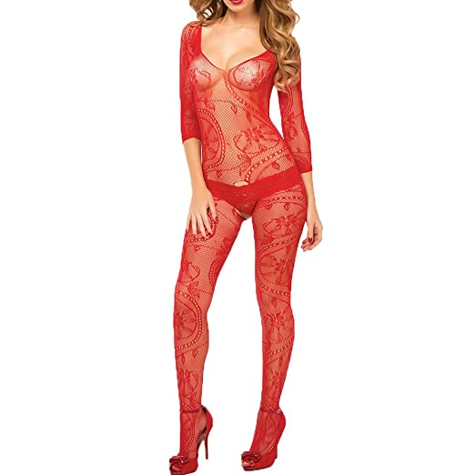 55a5b709bdd Amazon.com  Sexy Women Sheer Mesh Stocking Bodysuit Net Clothing Nightwear  Lingerie