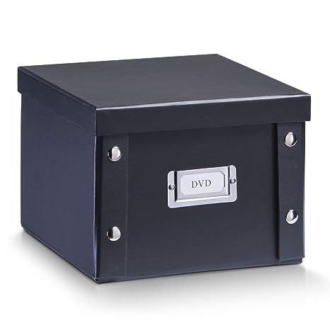 Zeller 17943 Caja de almacenaje de cartón Negro (Schwarz) 21.5 x 20.5 x 15