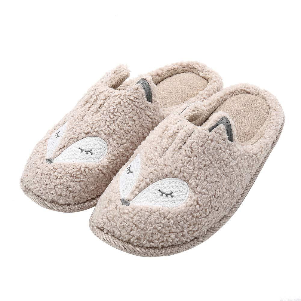 Women's Cute Animal Slippers Soft Fleece Plush Home Slippers Slip On Memory Foam Clog House Slippers