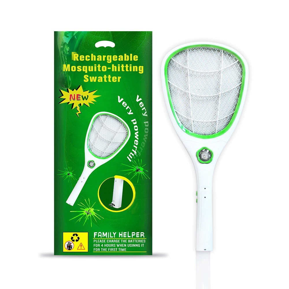 Tlanpu Bug Zapper-Rechargeable Electric Mosquito Swatter,Fly Killer pest Racket,3000Volt,Super-Bright LED Light,3-Layer Safety Mesh(Green)