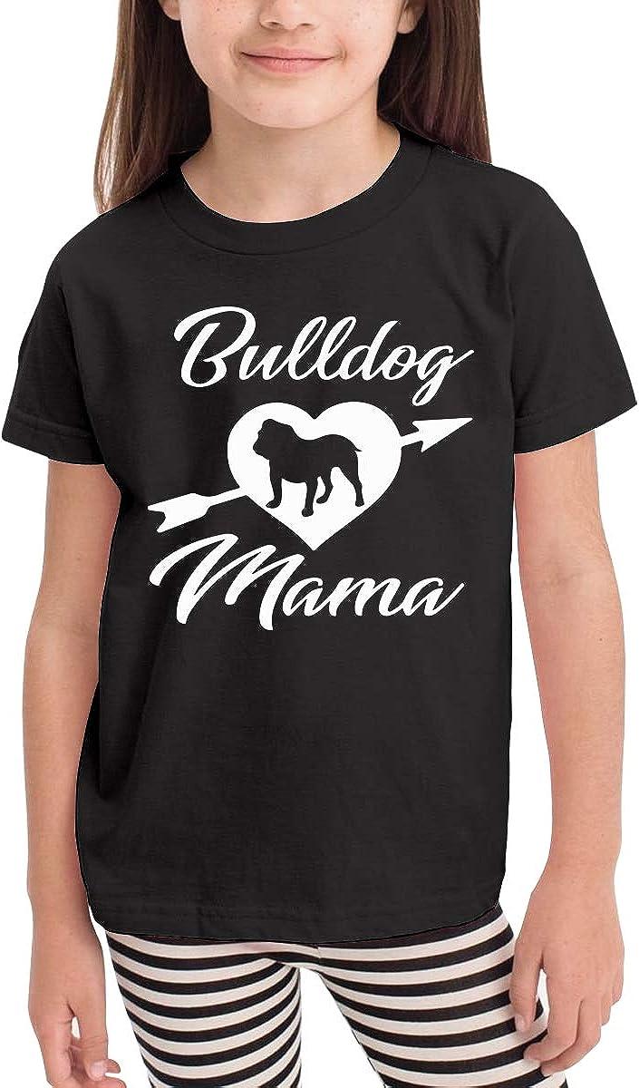Bulldog Arrow Heart Mama Kids Cotton T-Shirt Basic Soft Short Sleeve Tee Tops for Baby Boys Girls