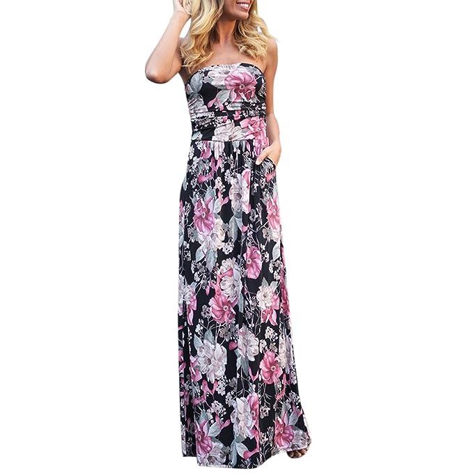 88a5e8dca iBaste Largos Vestidos Playa Sexy Mujer Estampado de Flores con Bolsillo  Maxi Dress Fuera de Hombro Vestido  Amazon.es  Ropa y accesorios