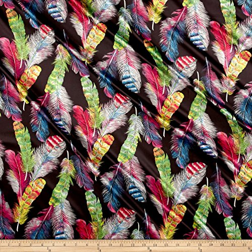 Stretch Feather - Telio 0556740 Kimono Stretch Satin Print Feathers Black Fabric by the Yard
