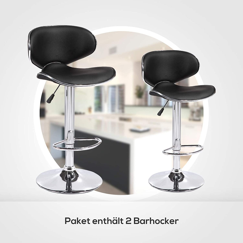 Barstuhl mit Bakeriger R/ückenlehne Bar Sessel mit Robustem Standfu/ß h/öhenverstellung milchwei/ß 120kg mecor 2er Set Barhocker Tresenstuhl verstellbar