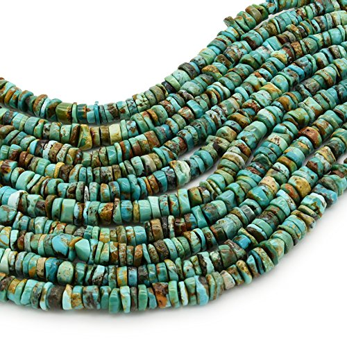 Bluejoy Genuine Natural American Turquoise 6mm Free-Form Disc Bead 16 inch Strand for Jewelry - Beads Mm Roundel 6