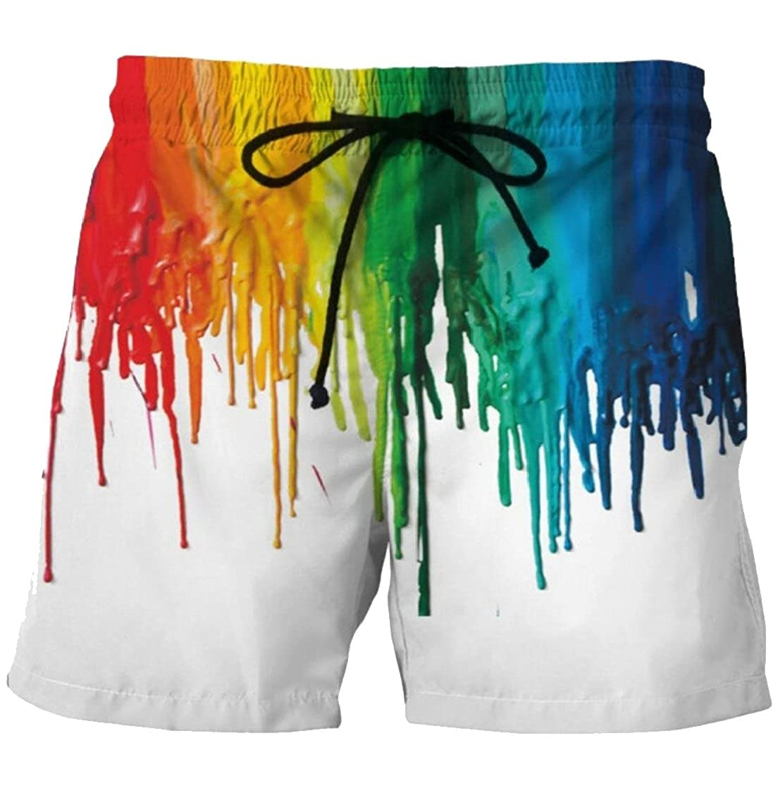 Gocgt Mens Stretchy Waist Strappy Tie Dye Printed Slant Pockets Beachwear