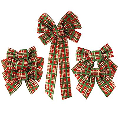 Felt Christmas Bows Plaid Checkered, Red/Green, 3 Size, 6-Piece