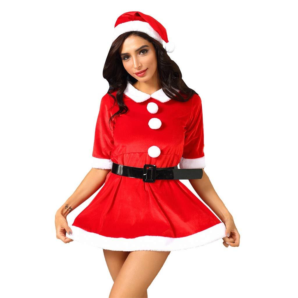 Qiran Vestido Mujer, Falda con Estampado navideño, Vestido de Moda ...