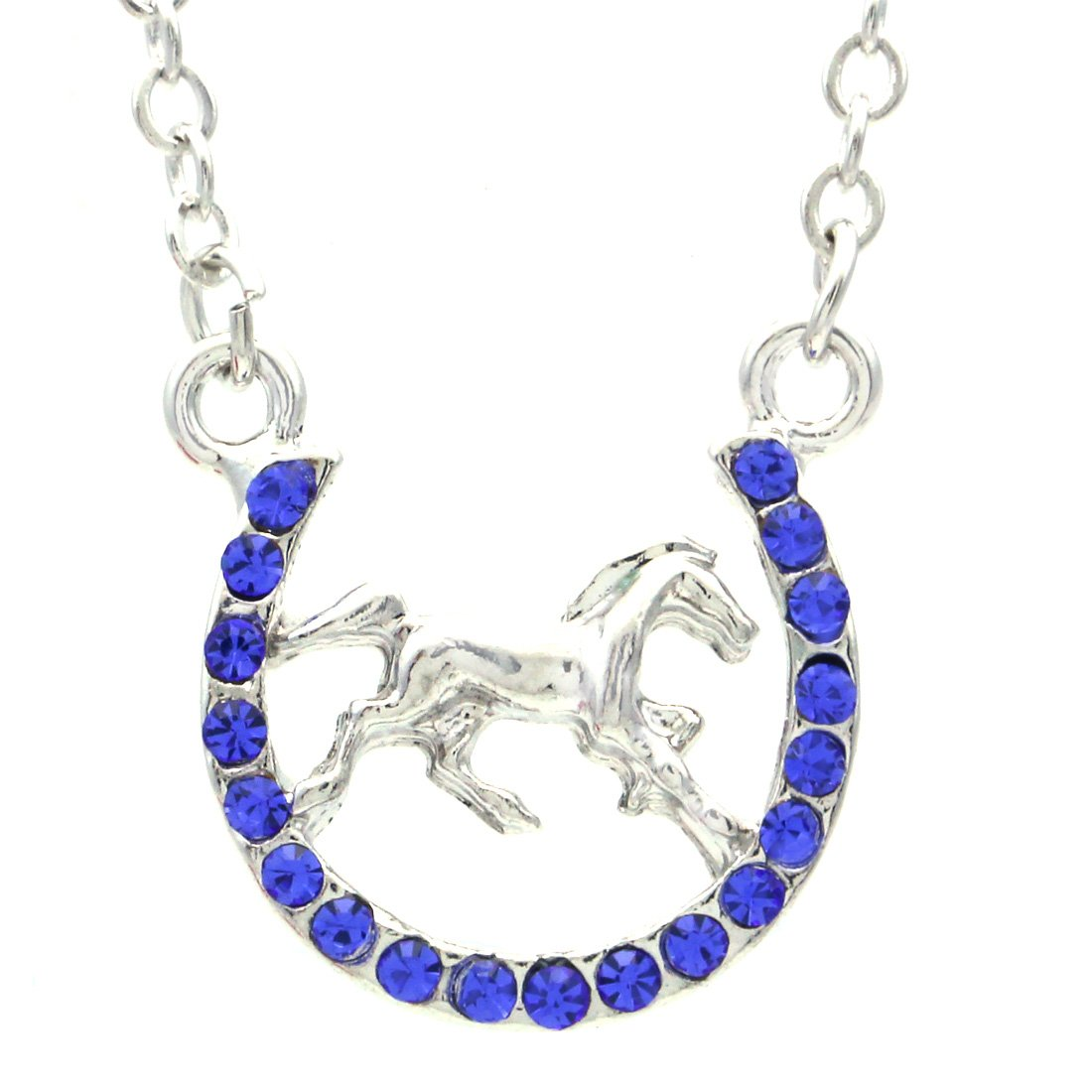 Soulbreezecollection Horse Mustang Pony Horseshoe Necklace Pendant Lucky Charm Western Cowboy Cowgirl