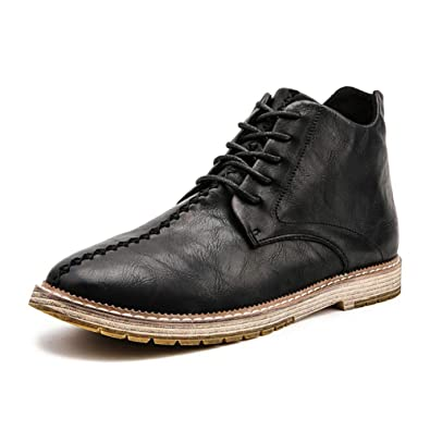 e9280833811c HUIYA Mens Casual Lace up Pointed Toe Fashion Ankle Faux Leather Combat  Martin Boots for Men
