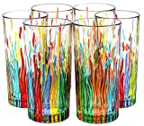 BICCHIERI FIRE Drink Glasses Crystal Hand Painted Traditional Technique Colors Venice