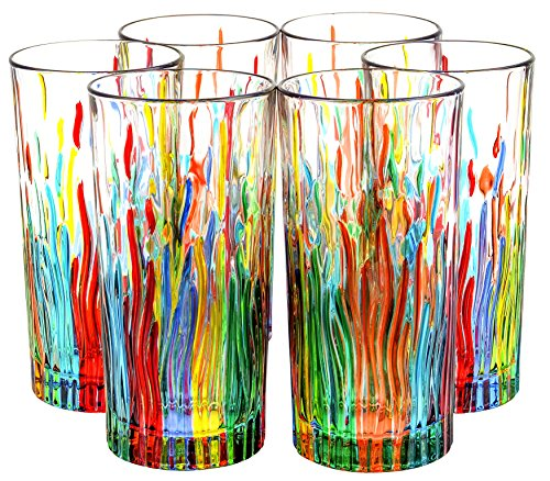 BICCHIERI FIRE Drink Glasses Crystal Hand Painted Traditional Technique Colors Venice by Boteghe - Real Made in Italy