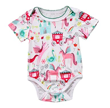 Newborn Baby Girl Ruffle Romper Summer Unicorn Jumpsuit Bodysuit Clothes Outfit