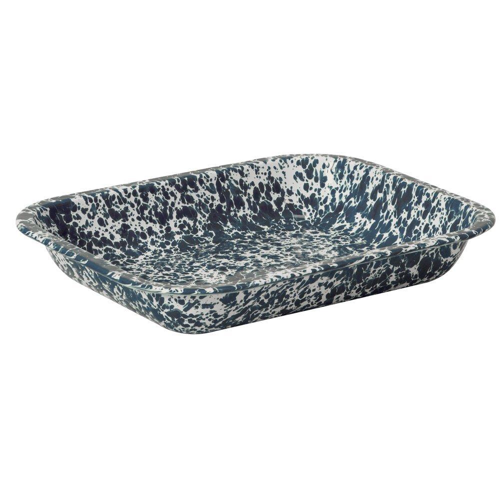 Enamelware Large Roasting Pan - Navy Blue on Cream Marble