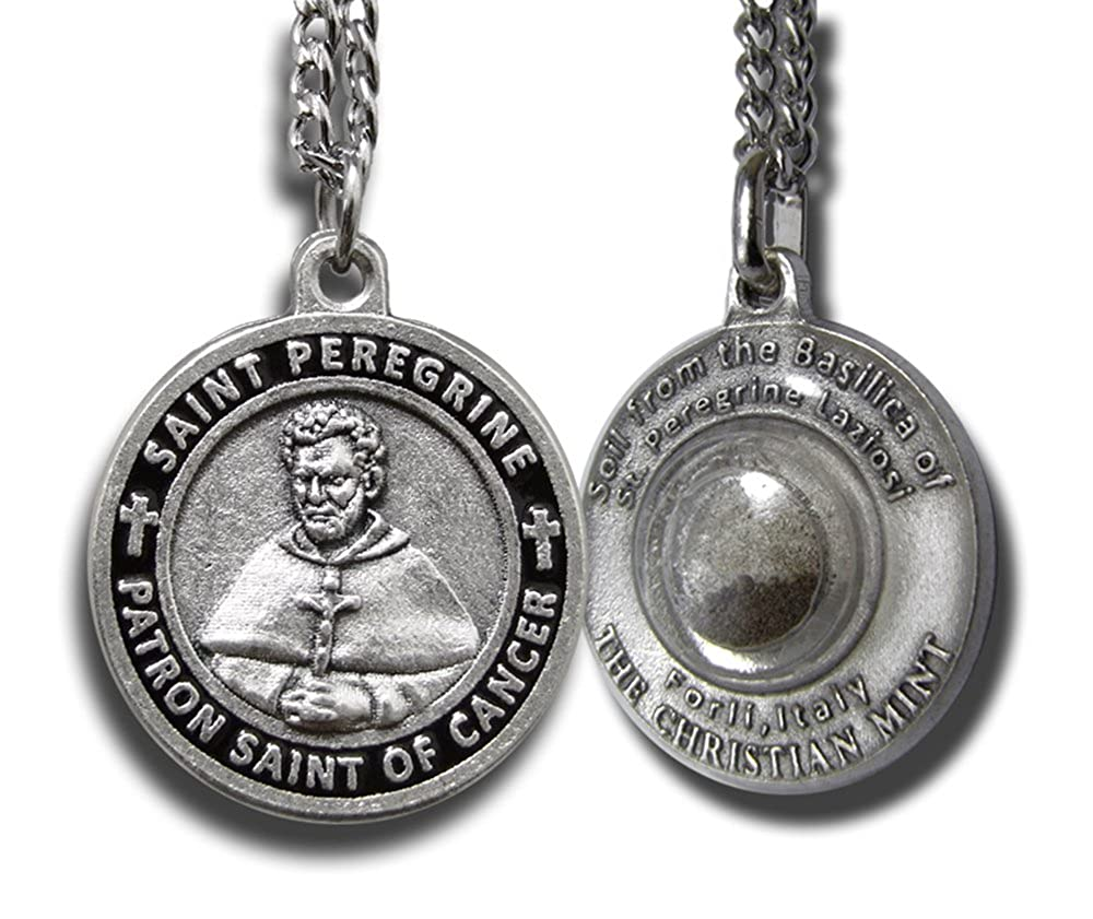 31931044be6 Amazon.com: The Christian Mint, LLC St Peregrine Patron Saint of Cancer  Medal w/Capsule of St Peregrine Soil (Men's 1-inch Diameter): Chain  Necklaces: ...