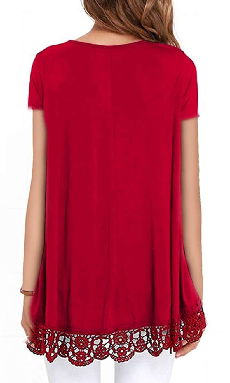 Odosalii Kvinnor spetsöverdelar vardaglig rund hals kortärmad blus A-linje blommiga vanliga tunika toppar tröjor Short Sleeve-red