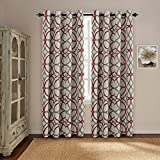 H.VERSAILTEX Thermal Insulated Blackout Window Room Grommet Indoor Curtains-52 inch Width by 96 inch Length-Set of 2 Panels-Taupe and Red Geo Pattern
