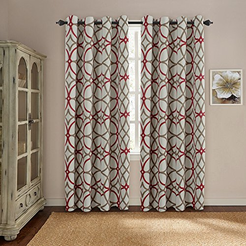H.VERSAILTEX Thermal Insulated Blackout Window Room Grommet Top Extra Long Curtains-52 inch Width by 108 inch Length-Set of 2 Panels-Taupe and Red Geo Pattern