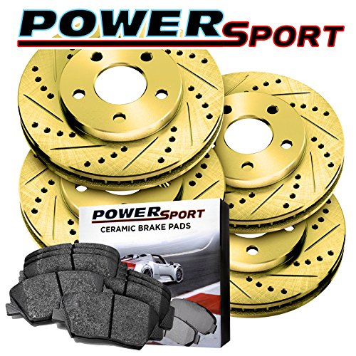 Full Kit Gold Drilled Slotted Brake Disc and Ceramic Pad 2005-2010 Honda Odyssey (2005 Full Kit)