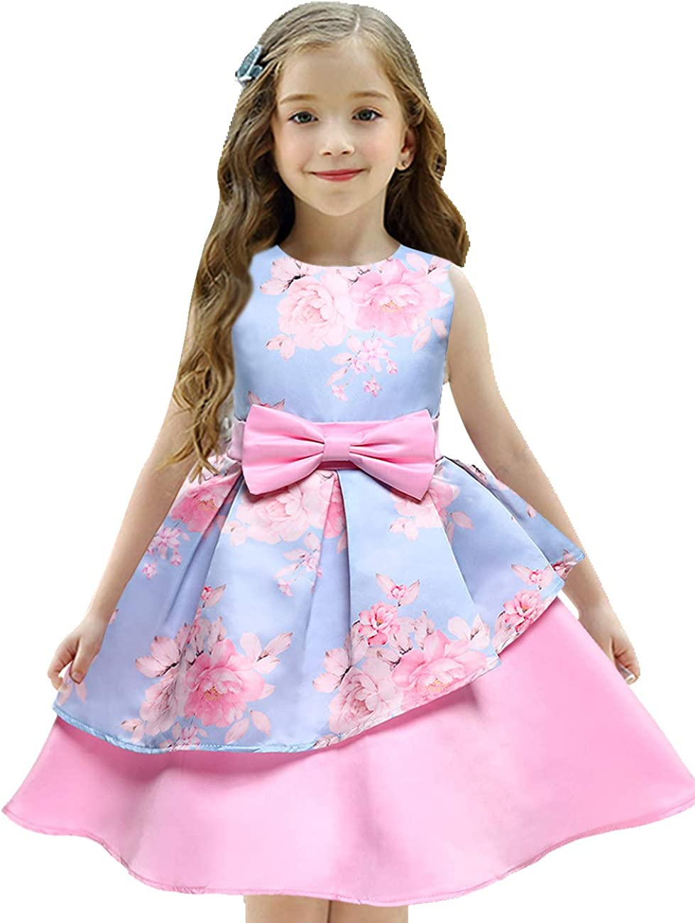 Amazon Com 2020 Girls Dress Christmas Santa Snow Silk Poinsettia Print Toddler Girls Xmas Reindeer Holiday Party Dresses Clothing