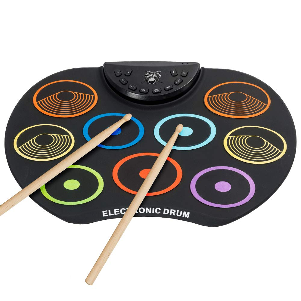 Irokimusic Flexible, Completely Portable Electronic Drum Set, Roll Up Drum Practice Pad with Headphone Jack without Speaker Drum Pedals 12 Hours Playtime, Great Holiday Birthday Gift for Kids KD12