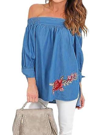 2c918567fe8ab Chvity Women s Off Shoulder Blouse Slash Neck Tops Floral Print Shirts (S