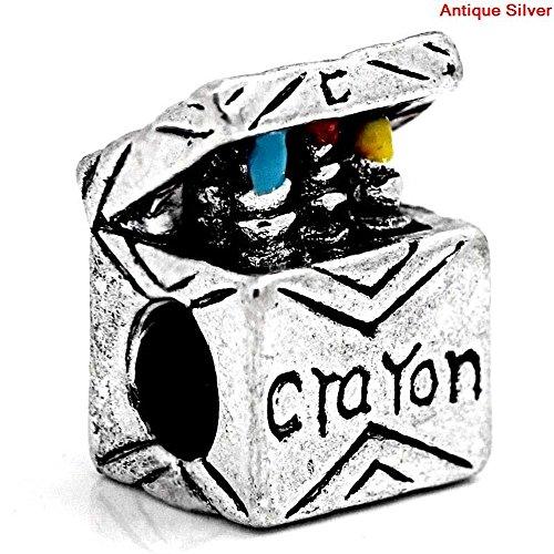 (Buckets of Beads Crayon Box Charm Bead Fits Pandora Troll Biagi Zable,)