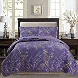 Purple Queen Comforter Sets Sale KASENTEX Country-Chic Printed Pre-Washed Set. Microfiber Fabric Floral Design. Queen Quilt + 2 Shams. Purple