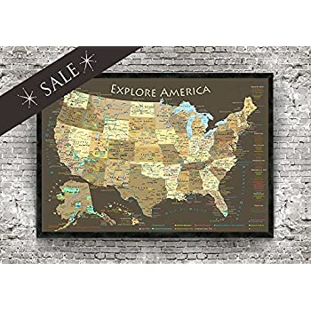 Explore America Usa Map With National Parks Historical Cities Usa Peaks Highest Elevations Map Rv Travel Map Espresso Framed Map Small Edition