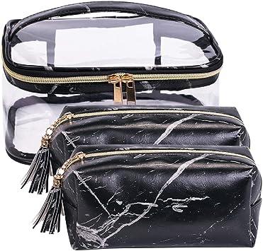 économiser style actuel vente de sortie Imperméable PVC Sac a Maquillage Set de 3 Trousse Vanity Rangement pour  Femme Cosmétique toilette Makeup (Noir Set)