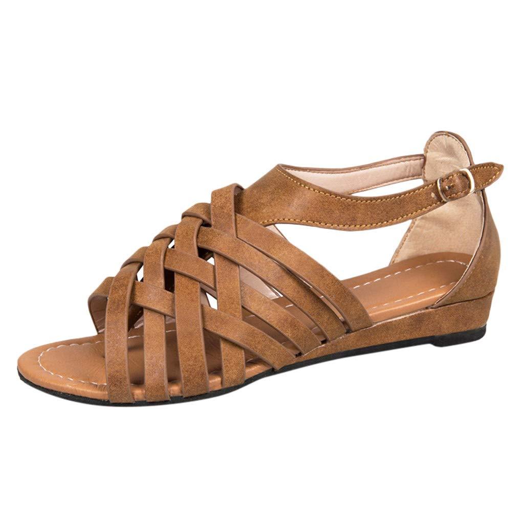 Respctful✿Women Gladiator Sandals Summer Non Slip Criss Cross Strap Flats Casual Thong Beach Flip Flop Shoes Brown