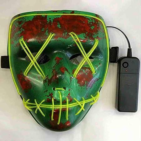 ZGWS Halloween Grimm Horror Glow Máscara Verde Led Flash ...