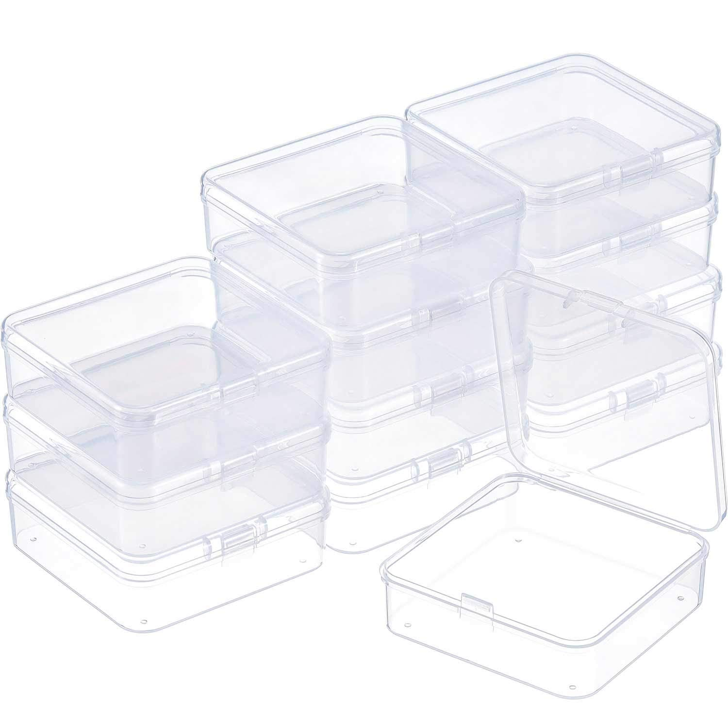 57ce51973dd8 SATINIOR 12 Pack Clear Plastic Beads Storage Containers Box with Hinged Lid  for Beads and More (2.9 x 2.9 x 1 Inch)