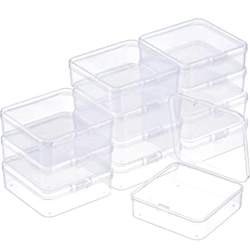 SATINIOR 12 Pack Small Rectangle Clear Plastic Containers Box With Hinged  Lid Bead Storage Box Case