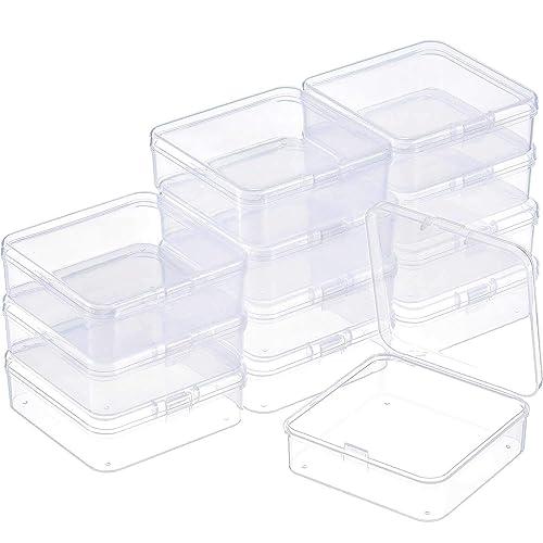 SATINIOR 12 Piezas Contenedor de Abalorios de Plástico Transparente Caja con Tapa de Bisagras para Abalorios