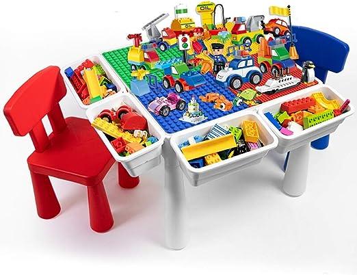 Xiao Jian- Bloque de construcción: juguetes para niños ensamblados tamaño mesa de madera de gránulos 1-2-3-6 años de almacenamiento multifuncional juego de mesa de aprendizaje para niños y niñas Jugue: Amazon.es: Hogar