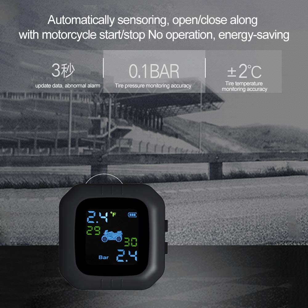 Carrfan Waterproof Cordless TPMS Motorcycle Tire Pressure Monitoring System 2 External Sensor Moto Tools