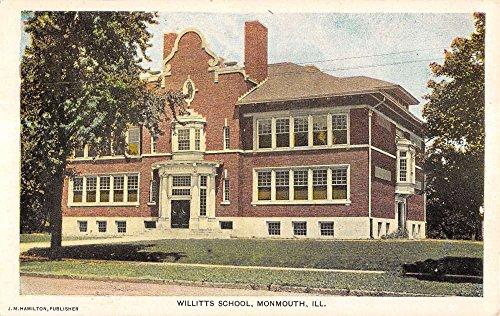 Monmouth Illinois Willitts School Street View Antique Postcard K15741