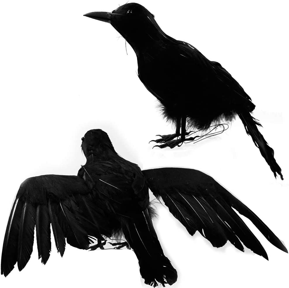 """DR.DUDU Halloween Crows,Halloween Birds Decoration,15"""" Halloween Lifelike Raven, Artificial Black Feathered Large Raven for Halloween Costume Decor Party, 2 Pack"""
