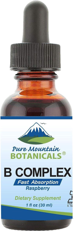 Liquid Vitamin B Complex - Raspberry Flavor Kosher B Complex Vitamin with B12, B6, Thiamin, Biotin & Folic Acid - 1oz Bottle