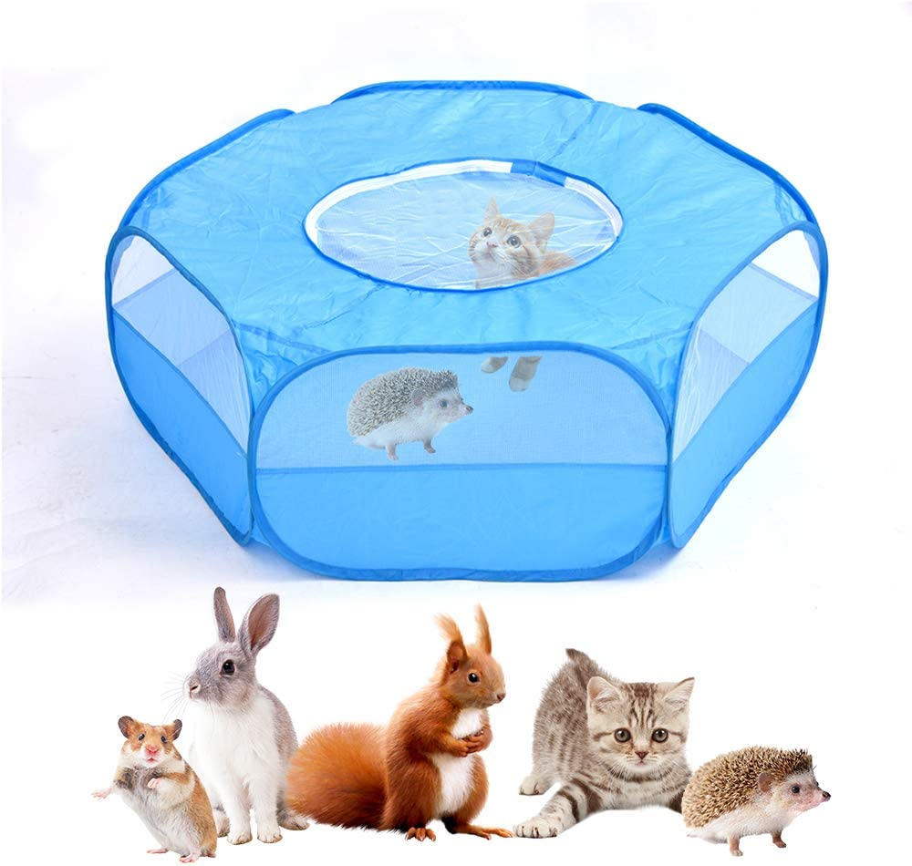 Hamster etc Portable Yard Fence for Guinea Pig Rabbits Ryoizen Foldable Pet Playpen with Top Cover,Transparent Cages Playpen